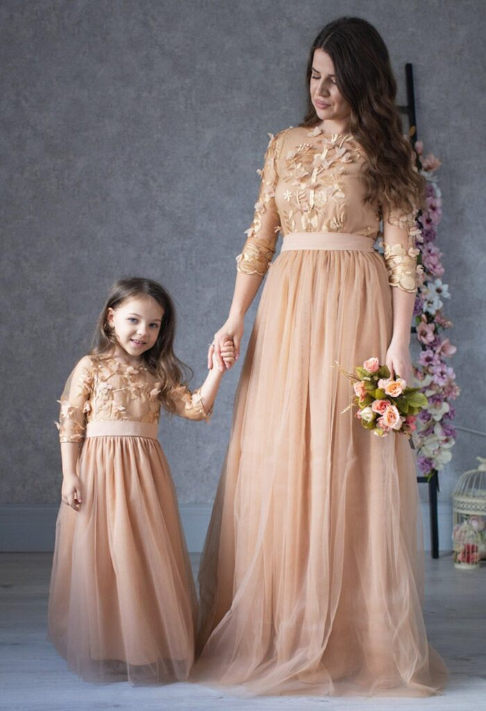 Long formal mommy-and-me dresses from Etsy