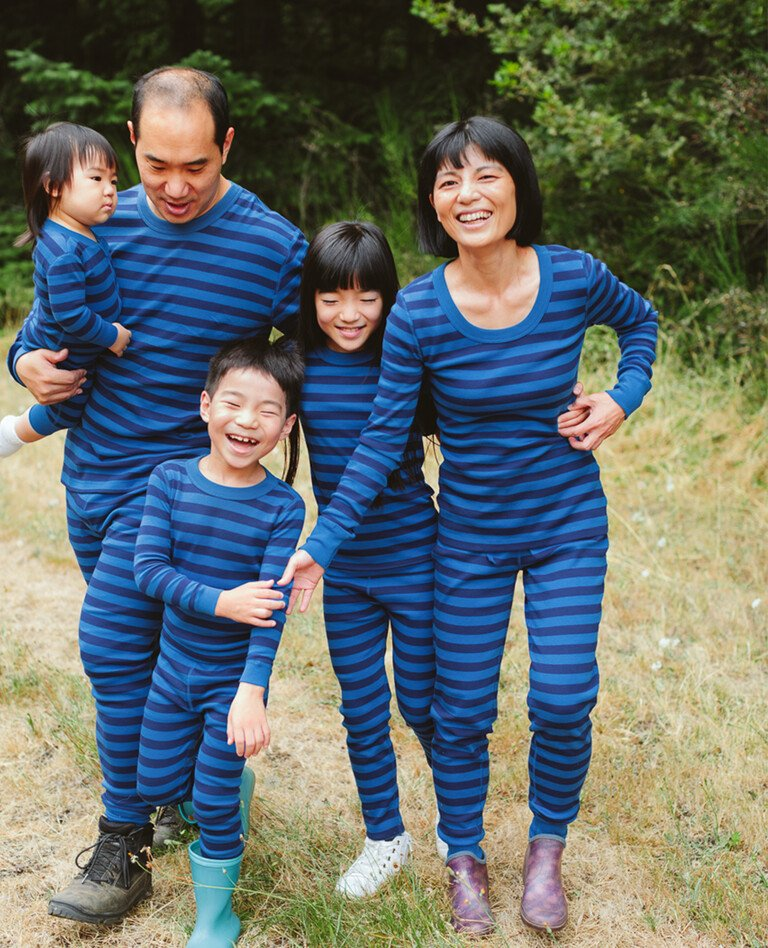 Blue striped matching family pajamas from Hanna Andersson