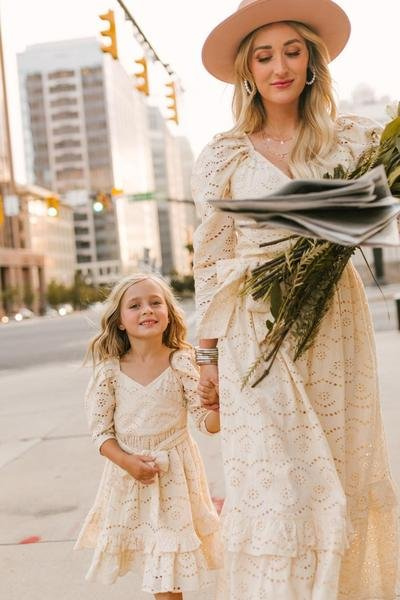 Matching eyelet dresses for mom and daughter from Ivy City Co.
