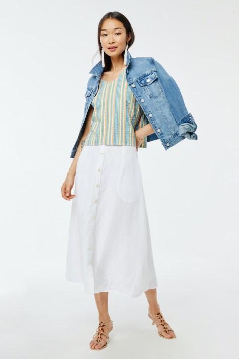 Striped seersucker top for women
