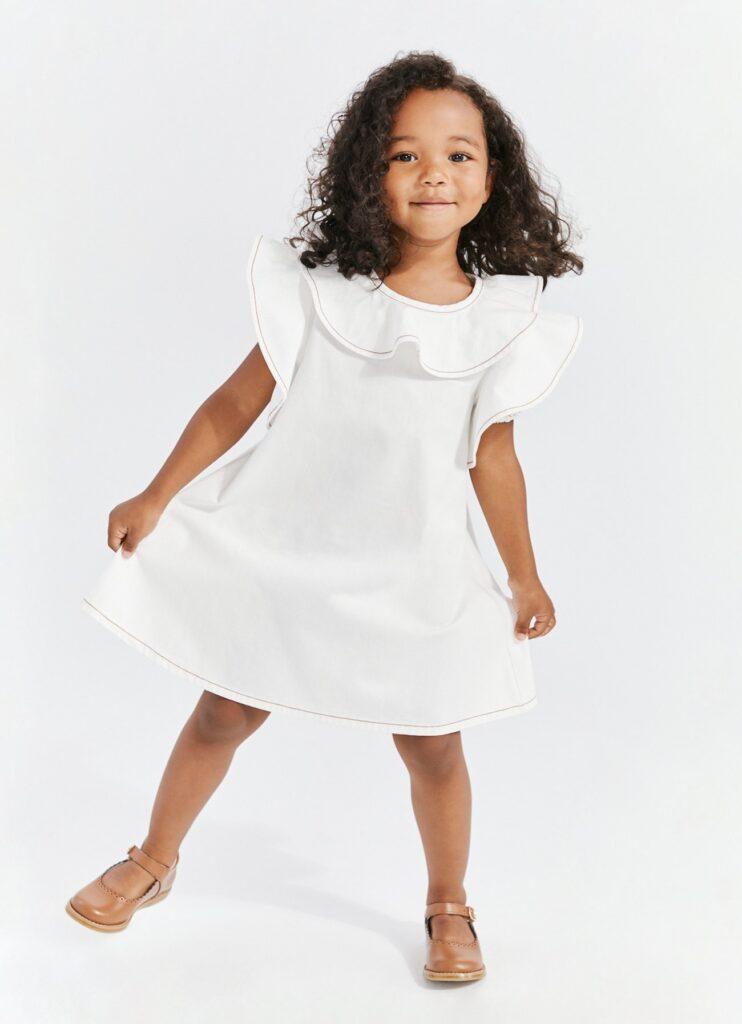 White ruffled girls dress
