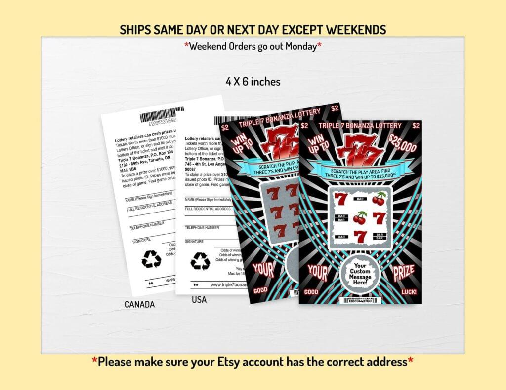 custom lottery tickets