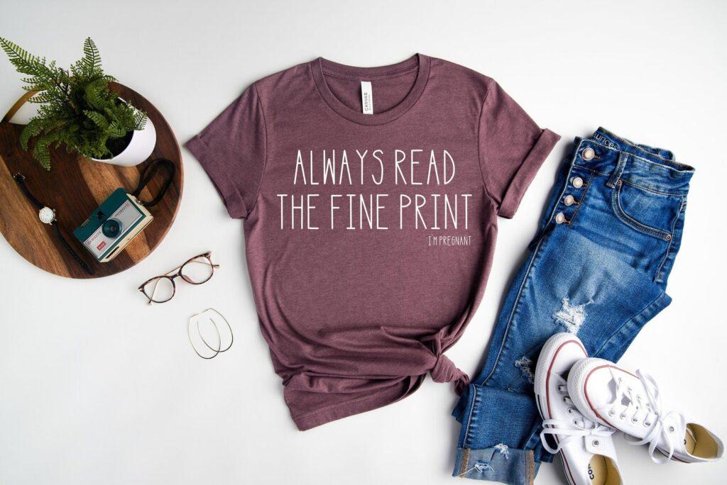 always read find print pregnancy announcement shirt
