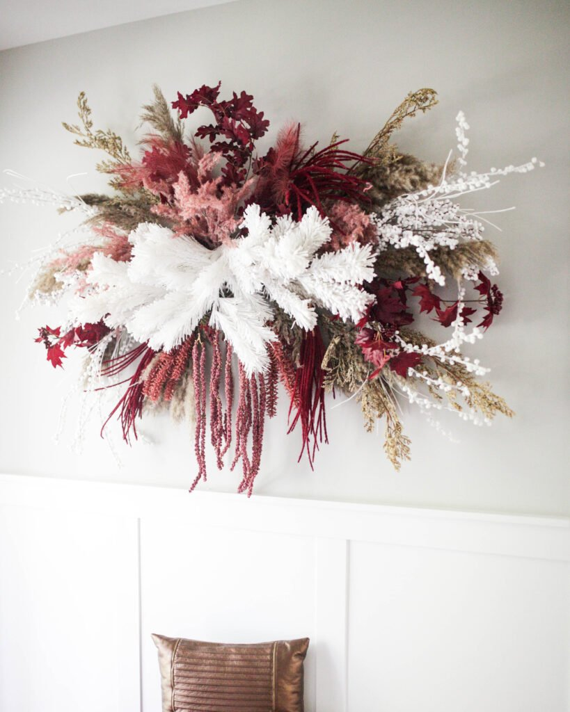A large fall floral wall hanging